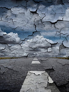 weg, muur, einde van de wereld, Flake, hemel, wolken, verleden