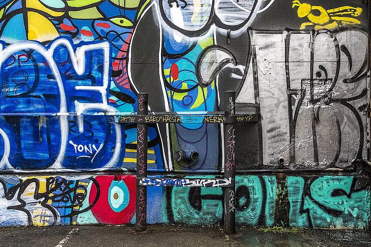 Graffiti, Priorità bassa, grunge, arte di strada, parete dei graffiti, arte dei graffiti, artistico