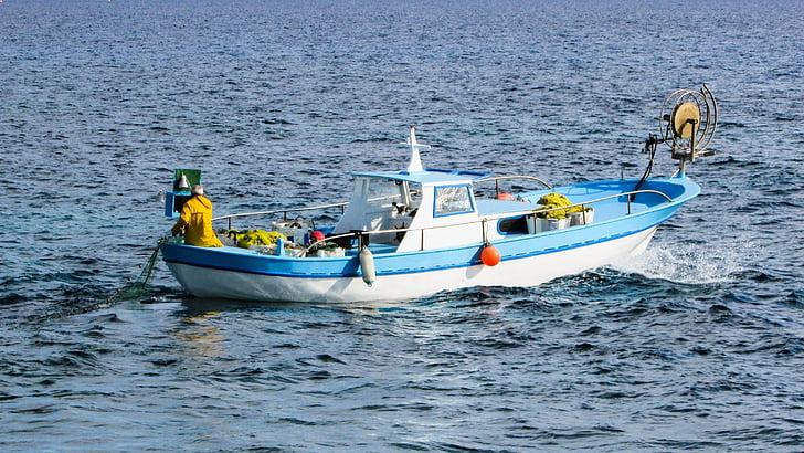 fishing, fishing boat, boat, sea, traditional, fisherman, cyprus