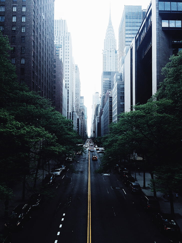 arquitectura, edificis, cotxes, ciutat, paisatge urbà, Centre, carretera