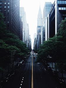 architecture, buildings, cars, city, cityscape, downtown, road