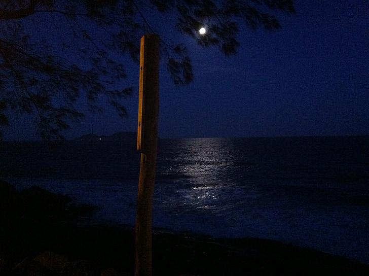 Moonlight, Ocean, öö, Sea, loodus, vee, helendus