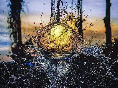 sunset, still water splash, water reflection, liquid, twilight, splashing, wet