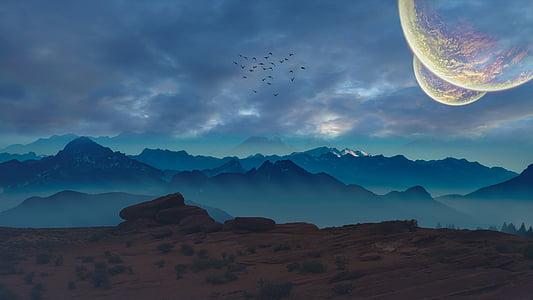planety, Kosmos, měsíc, Sol, planetka, modrá, země