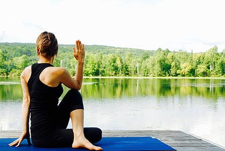 tập yoga, người phụ nữ, Thiên nhiên, cảnh quan, hành thiền, thiền định, tư thế