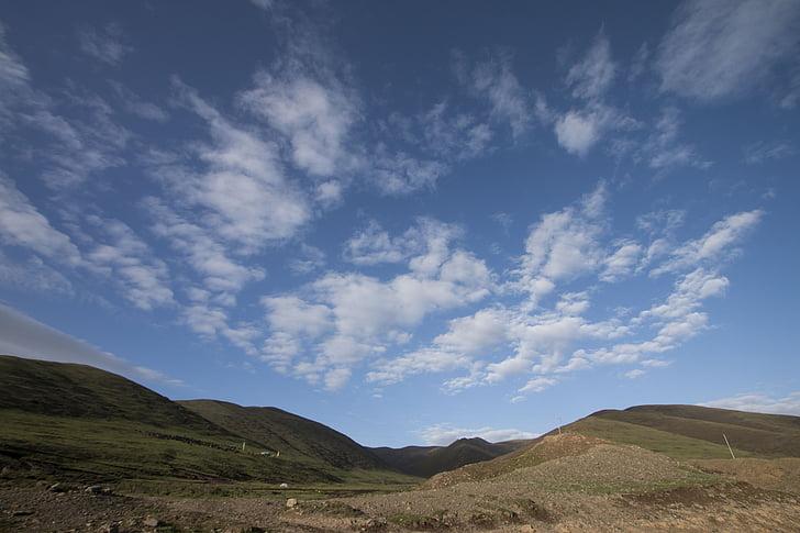 Prairie, Sky, White cloud