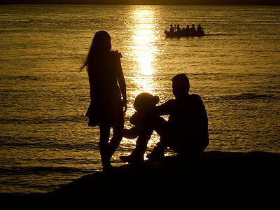 sunset, couples, romance, people, happy, sun, child