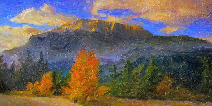 the scenery, oil painting, mountain