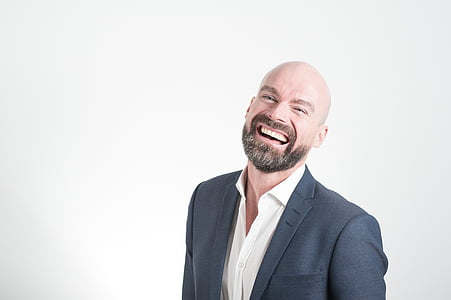 adult, bald, beard, corporate, designer suit, facial expression, fashion