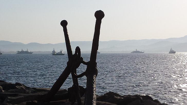 Σαιν-Τροπέ, Άγκυρα, απογευματινό ήλιο, στη θάλασσα, πλοία, κράτηση, abendstimmung
