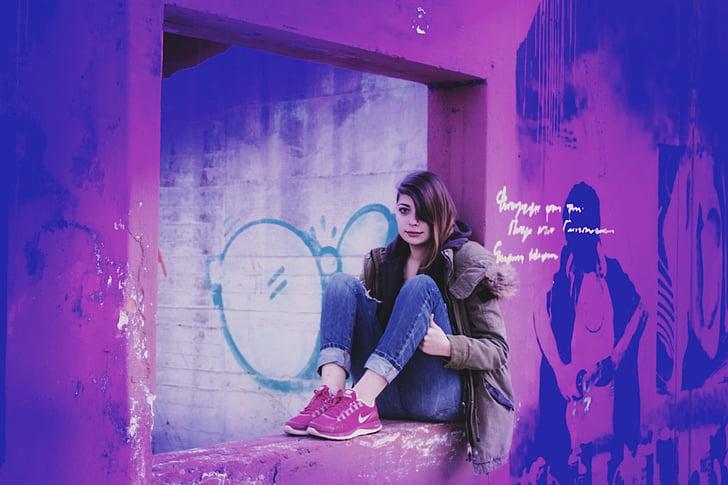 girl portrait in old building, colorful landscape, violet, pink, girl in a window, landscape, color