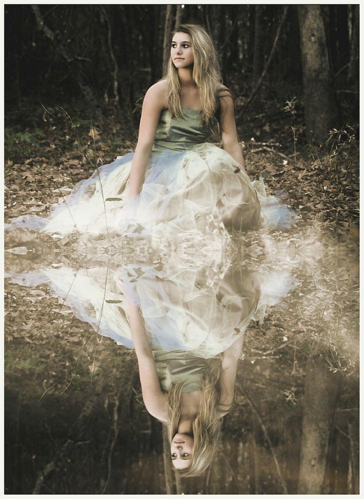 meitene, meži, pārdomas, meža, daba, sievietes, jaunais