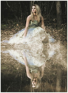 girl, woods, reflection, forest, nature, female, young