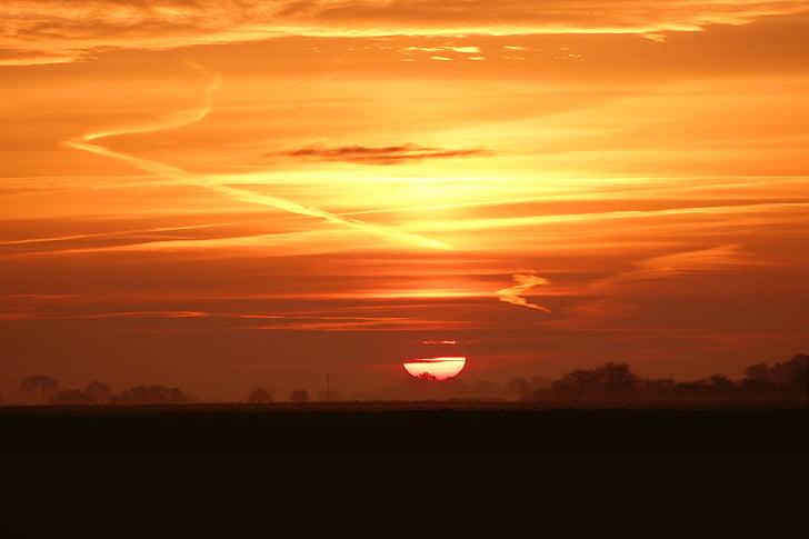 salida del sol, morgenrot, cielos, amanecer, sol, otoño, Estado de ánimo otoño