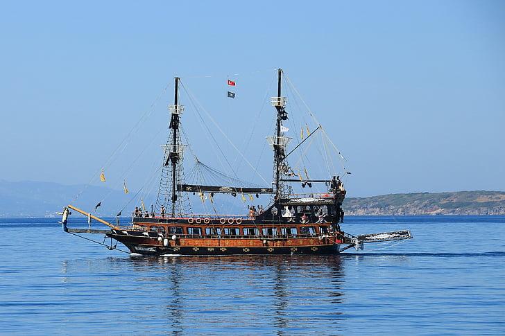 pirates, sailing vessel, ship, sea, nautical Vessel, transportation, travel