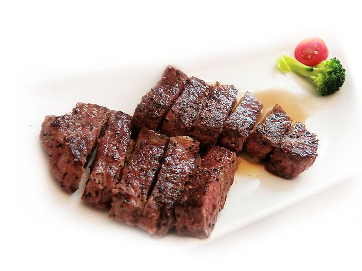 costelles de carn, Bistec, carn de boví, Magret d'ànec vi, ànec, l'atenció, càtering