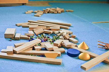 toys, play, building blocks, kindergarten, wood, yellow, children