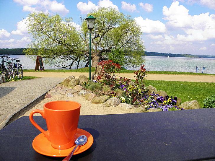 kohvi tass, Kohvipaus, Vaade järvele, Break, kohvi, lõõgastuda
