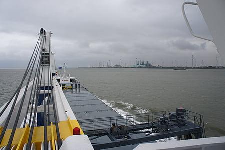 fartyg, havet, kran, kusten, båtar, fartyg, frachtschiff