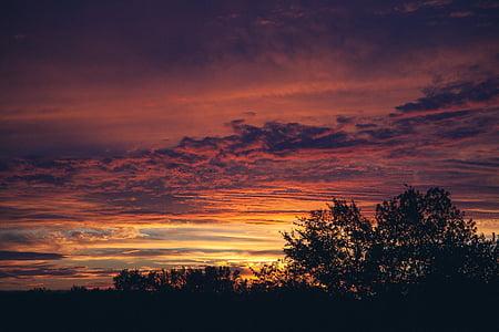 saulriets, debesis, sarkana, mākoņi, ainava, vakarā, krēslas stundā