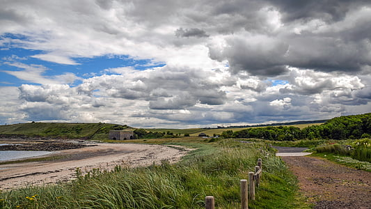 scotland, england, east coast, coast, beach, sea, sky