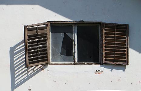 破滅, ウィンドウ, 古い, 破壊, シャッター, ウィンドウ ペイン, ガラス