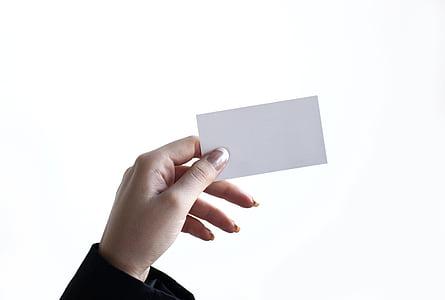 äri, kaart, käsi, naine, ettevõttest, tühi, Visiitkaardid