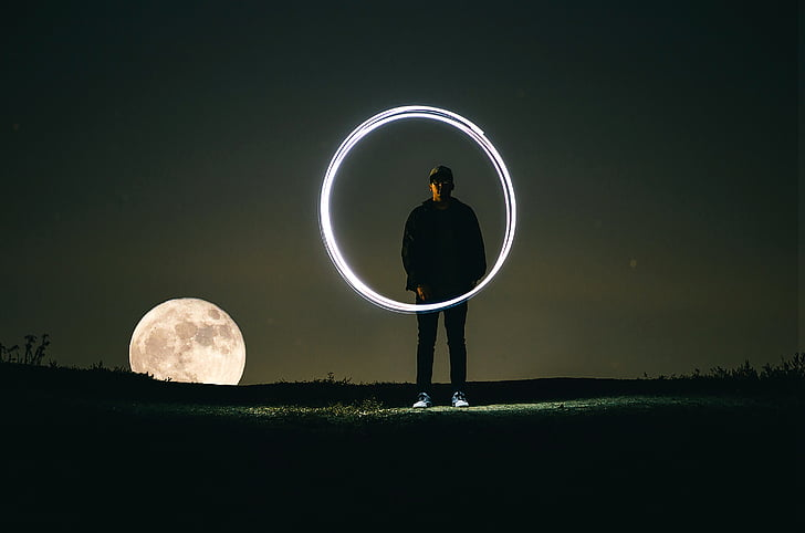 timelaps, photography, man, front, moon, circle, night