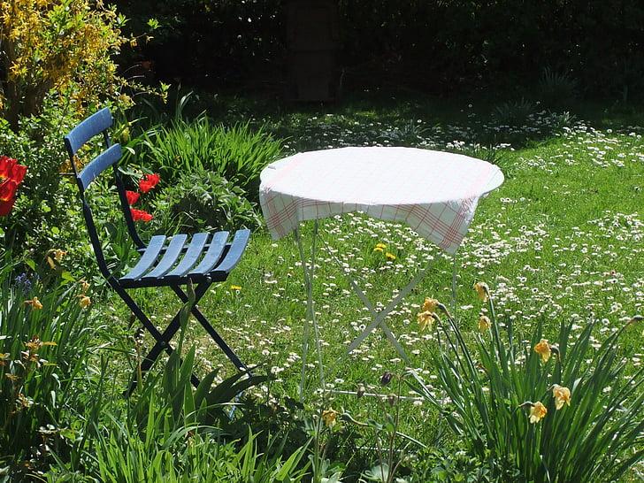 odzyskiwanie, reszta, ogród, stół, krzesło, Latem