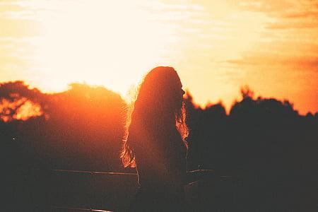 жінка, стоячи, Захід сонця, промені сонця, Сутінки, силует, тінь