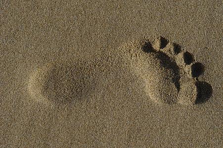 peu, sorra, platja, petjada, humà, Mar, l'estiu