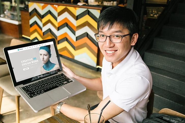 MacBook, ordinateur portable, maquette, mains, ordinateur portable, Web, modèle