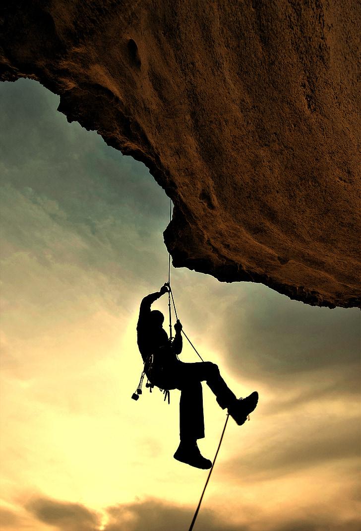 alpīnists, kalnietis, Alpīnisms, klinšu kāpšana, virves, iejūgs, aizsardzība