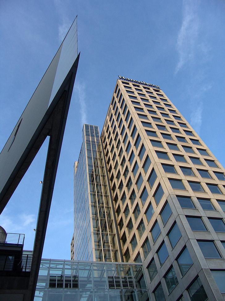 façana, façana de vidre, gratacels, reflectint, vidre, finestra de vidre, discos
