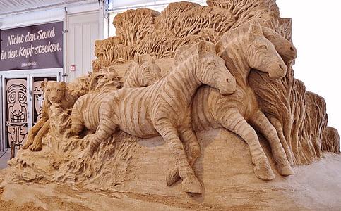 sand sculpture, zebras, artwork, exhibition, sandy worlds