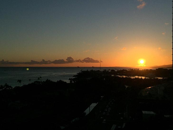 Hawaii, posta de sol, posta de sol de platja, Mar, oceà, cel de posta de sol, nit