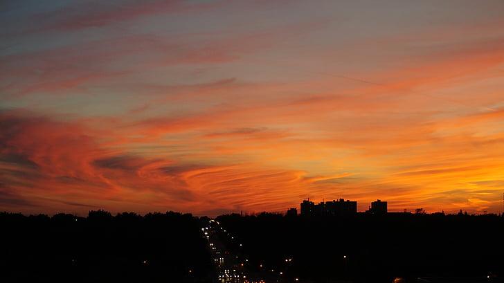 posta de sol, ciutat, urbà, cel, capvespre, fons posta de sol, cel de posta de sol