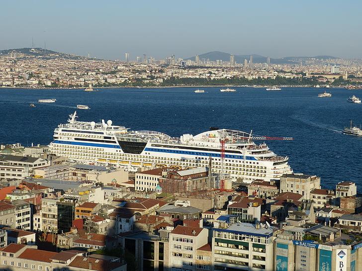Istanbul, Turkiet, Bosphorus, havet, Outlook, Visa, gamla stan