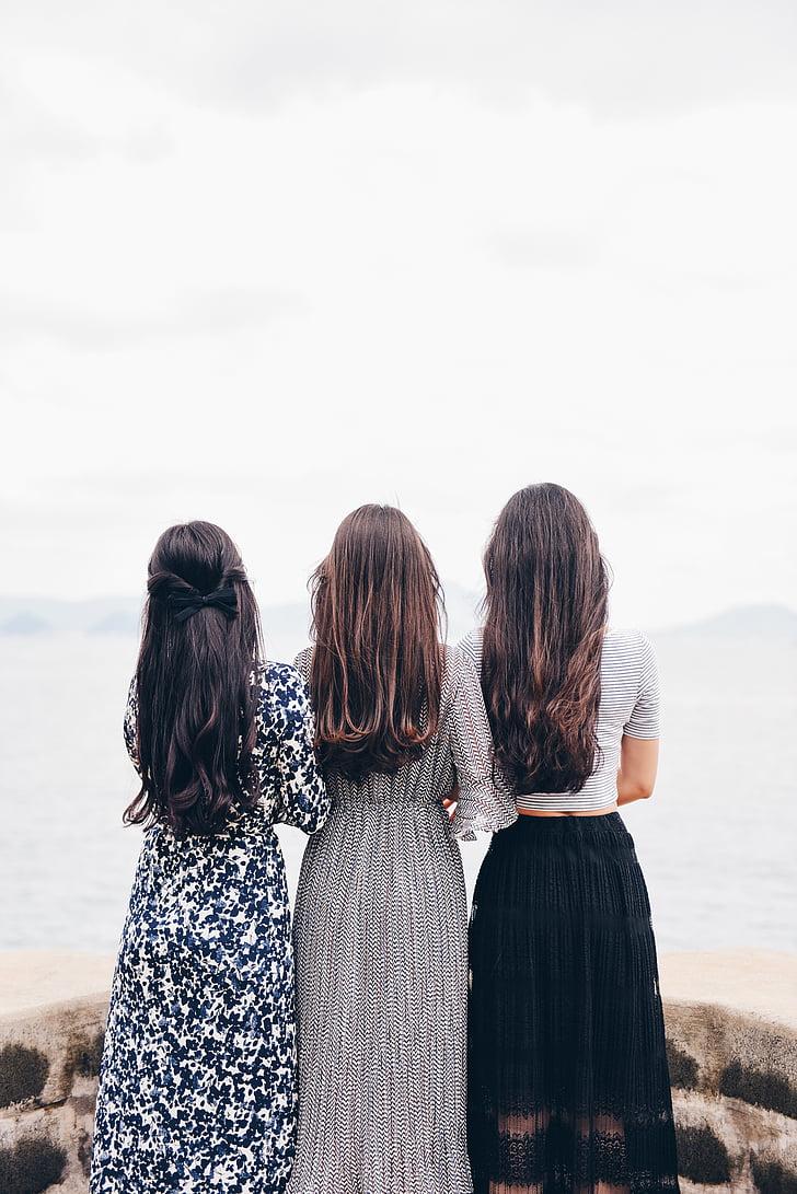 fashion, hair, outdoors, people, women, adult, sea