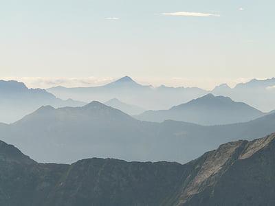 panoràmica, l'Outlook, visió de conjunt, veure, muntanyes, visió, boira