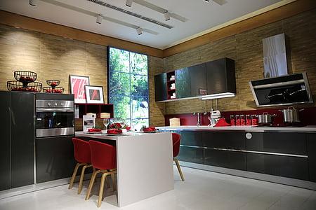 uždaras, mėginio numeris, virtuvė, šiuolaikinės, uždarose patalpose, prabanga, namų interjeras