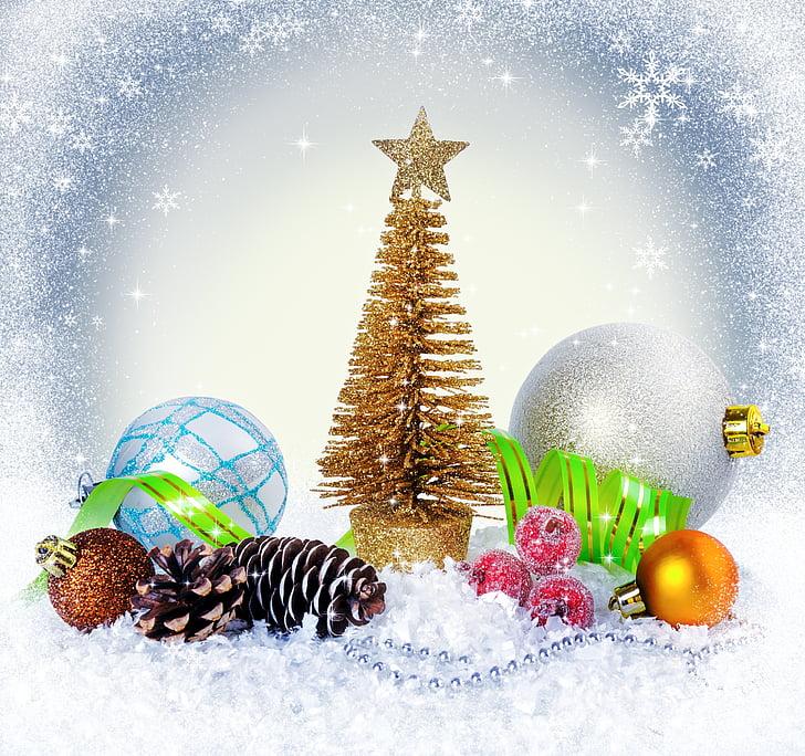 liburan, Natal, tahun baru, pohon Natal, dekorasi, perada, salju