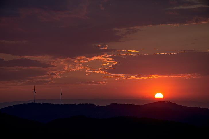 solnedgång, abendstimmung, moln, Sky, kvällen, kvällshimmel, humör