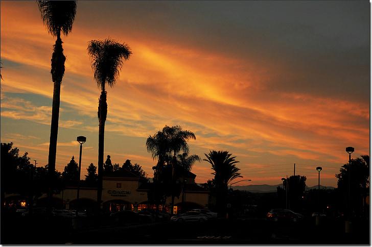 sunset, village, the scenery