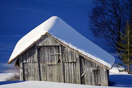 winter, barn, snow, scale, wood, log cabin, nature