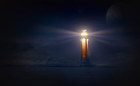 fyr, glød, natt, sjøen, fotomontasje, atmosfærisk, mørke