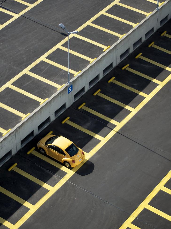 automobilių, automobilių, automobilių stovėjimo aikštelė, parkavimo vietos, linijos, geltona, lijnbaan