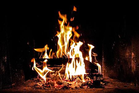foc, flama, llar de foc, cremar, calenta, brases, fusta