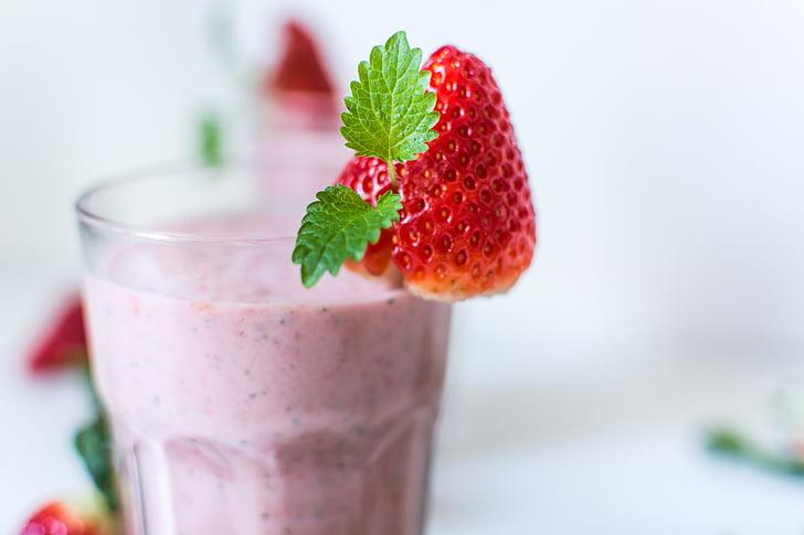 milkshake, jook, maasikas, jook, toidu, terve, smuuti