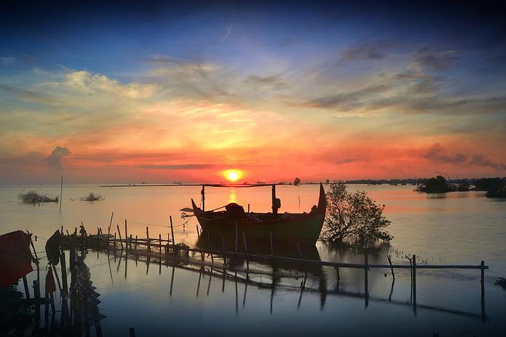 paysage, vue, mer, matin, nature, bateau, voyage